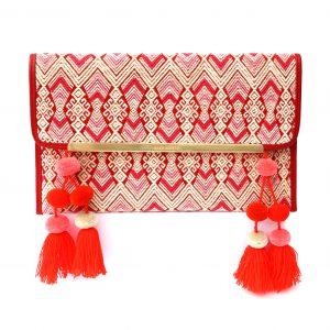 Bolso mexicano de mano rojo