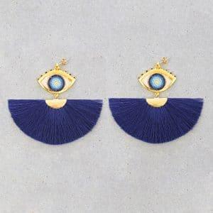 Arete Abanico Ojo Turco Azul