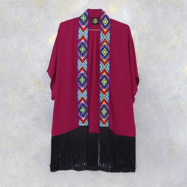 Kimono largo con tira gruesa de chaquira marsala