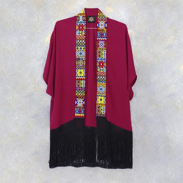 Kimono largo con tira gruesa de chaquira marsala am