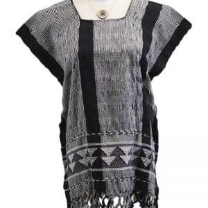 Blusa en telar negra gris