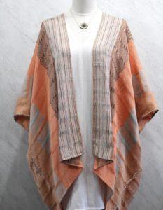 Kimono largo en telar de cintura rayas Salmón