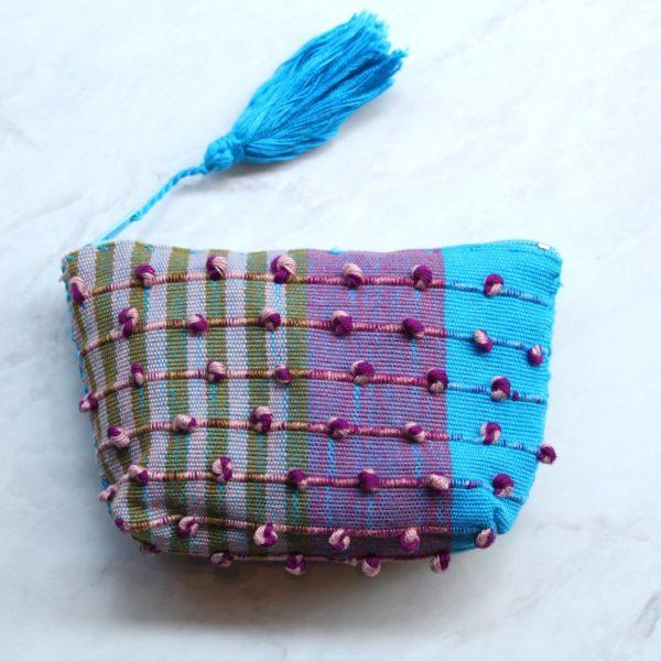 Monedero mexicano en telar Azul