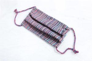 Mascarilla artesanal en telar de cintura azul Rosa Celeste