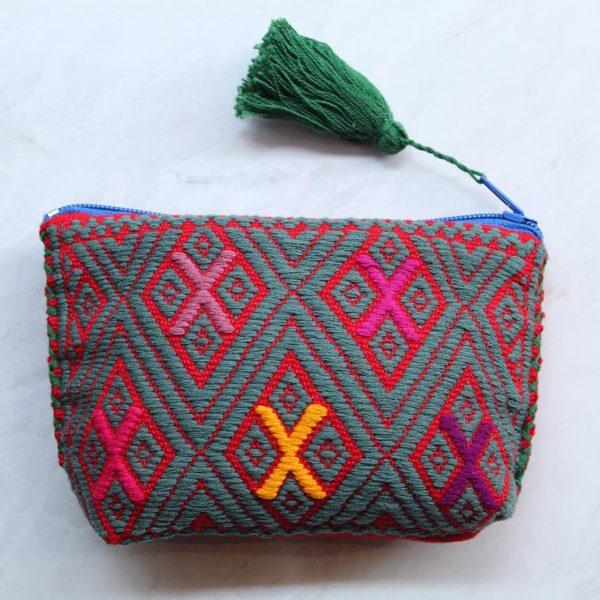 Monedero mexicano en telar Rojo Azul