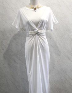Vestido largo con cinto cruzado de telar blanco
