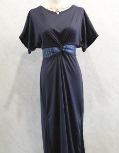 Vestido largo con cinto cruzado de telar azul