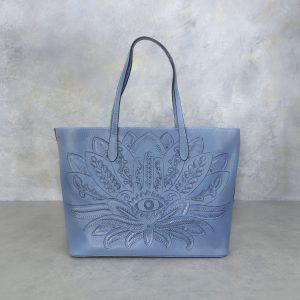 Bolso mexicano azul flor y ojo