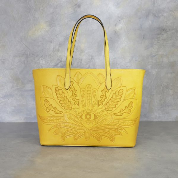 Bolso Mexicano amarillo flor y ojo