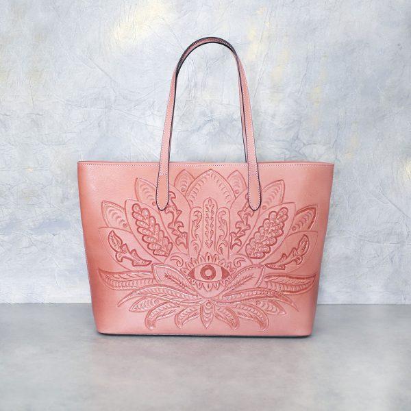 Bolso Mexicano rosa flor y ojo