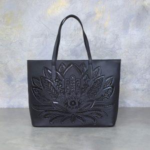 Bolso Mexicano Negro Flor y ojo