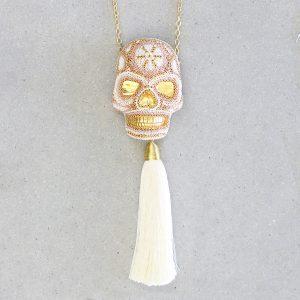 Dije calavera 3D rosa blanco
