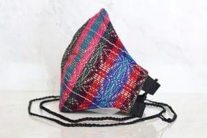 Mascarillas de rebozo hecha en telar multicolor
