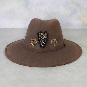 Sombrero chocolate Con Aplicaciones de Chaquira