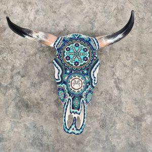 Cabeza de vaca azul blanco