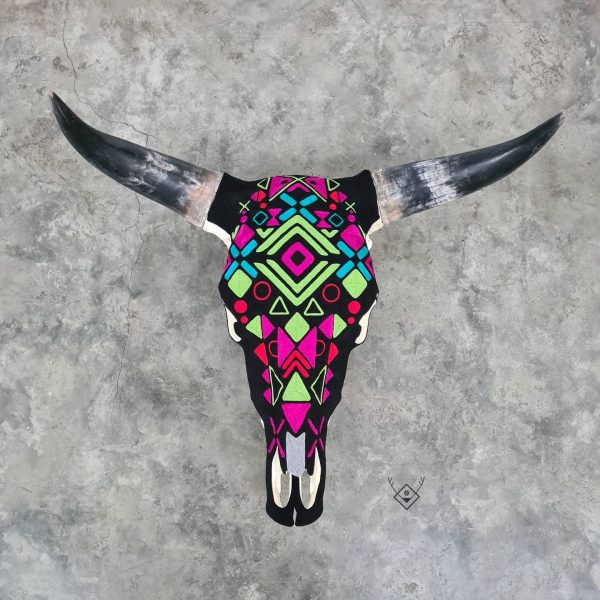 Cabeza de vaca estambre neon